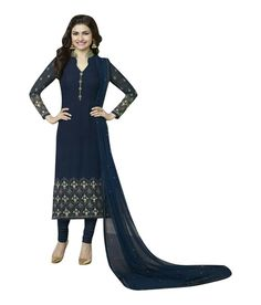 Naksh - Blue Georgette Embroidered Straight Cut Churidar Suit