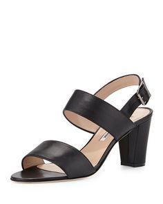 MANOLO BLAHNIK Khan Leather Double-Band Sandal, Light Beige. #manoloblahnik #shoes #