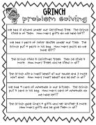 Today in 1st grade we read the book How the Grinch Stole Christmas, and then we did these story problems together in class. The kids really enjoyed it and the story problems challenged them just enough.