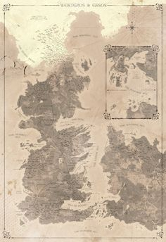 """Amazing map of Westeros, Essos and Old Valyria, continents from George, R. R. Martin's """"A Song of Ice and Fire"""" series"""