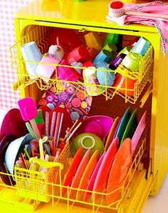 Colorful dishes--it almost makes we want to unload the dishwasher. And where do you find a yellow one? Taste The Rainbow, Over The Rainbow, Use E Abuse, Scandinavian Living, Saturated Color, World Of Color, Happy Colors, Mellow Yellow, Bright Yellow