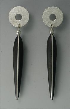 Ebony Earrings with Silver Inlay, Silver Tops, 14K Posts by Suzanne Linquist. Earrings with 2
