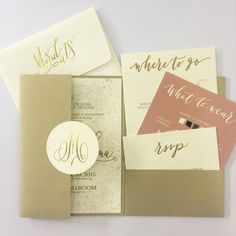 """""""Pretty in pink and gold-- a young and elegant debut suite! #invitations #inkscribbler"""""""