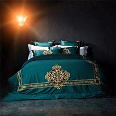 100% egypt cotton bedding 4/6pcs queen/king size luxury royal embroidery bedding set  flat sheet sets duvet cover bedlinens