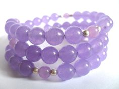 Amethyst Bracelet, Purple Gemstone and Sterling Silver Beaded Wrap Bangles - pinned by pin4etsy.com