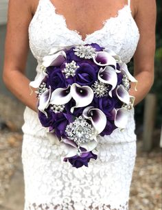 Excited to share this item from my shop: Cascading Calla Lily Bouquet Brooch Bouquet Real Touch Bouquet Purple Calla Lily Bouquet Eggplant Bouquet Bling Bouquet Plum Bouquet Lily Bouquet Wedding, Cascading Wedding Bouquets, Bridal Bouquet Fall, Plum Wedding, Eggplant Purple Wedding, Purple Wedding Cakes, Plum Purple, Wedding Ideas, Deep Purple Wedding