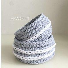Lindo kit de cestos, amei from @amadknit #basket #cestosorganizadores #fiosdemalha #trapillo #crochet