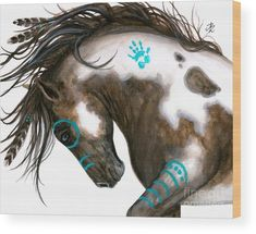 horse art - Majestic Mustang Pinto Native American Spirit Paint Horse Feathers ArT Giclee Print by Bihrle Painted Horses, Feather Painting, Feather Art, Tattoo Feather, Knife Painting, Majestic Horse, Beautiful Horses, Native American Horses, Native American Bedroom