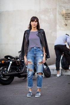 Shop this look on Lookastic:  http://lookastic.com/women/looks/white-and-black-long-sleeve-t-shirt-black-biker-jacket-blue-boyfriend-jeans-grey-low-top-sneakers/9917  — White and Black Horizontal Striped Long Sleeve T-shirt  — Black Leather Biker Jacket  — Blue Ripped Boyfriend Jeans  — Grey Suede Low Top Sneakers