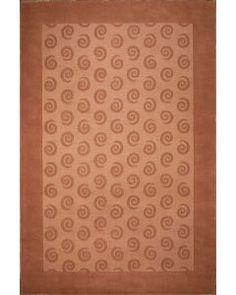 Handmade Rectangular Area Rug 8x10 in Brown with Circular Swirl Patterns 62593