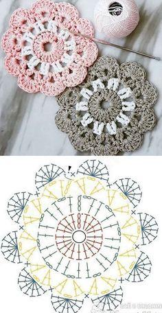 Crochet Pattern Free, Crochet Square Patterns, Crochet Motifs, Crochet Diagram, Crochet Squares, Love Crochet, Crochet Doilies, Knitting Patterns Free, Crochet Flowers