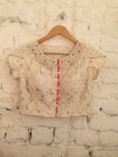 Floral net blouse with peter pan collar