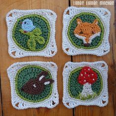 Granny squares with animal motifs, perfect for a toddler blanket