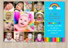 Rainbow Photo Collage First Birthday Invitation - DIY Custom Printable on Etsy, $15.00