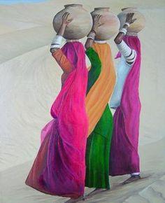 Porteuses d'eau - Swaze, peintre pastelliste Huile