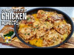 dinner recipes for family main dishes Smothered Chicken and Gravy Recipe Chicken N Gravy Recipe, Smothered Chicken Recipes, Recipe Using Chicken, Chicken Thigh Recipes, Yummy Chicken Recipes, Butter Chicken, Entree Recipes, Dinner Recipes, Cooking Recipes