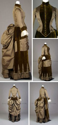 Day dress, Mme. D. Michaux, New York. 1885–89. Green silk faille and velvet. Bodice has velvet inset, standing collar, long cuffed sleeves. Skirt has over-panel of velvet, crenellated hem revealing 3 rows of pleated ruffles, bustle. Large pleated silk swag runs asymmetrically across and through the velvet to the back where it is covered by the bustle. Kent State Univ.