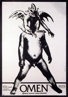 Original Polish movie poster subject: film, country: USA The Omen director: Richard Donner actors: Gregory Peck designer: Andrzej Klimowski year: 1977 Horror Movie Posters, Polish Movie Posters, Polish Films, Best Horror Movies, Cinema Posters, Horror Films, Film Posters, Event Posters, Poster Retro