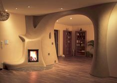 tadelakt in a cob home Tadelakt, Stove Fireplace, Fireplace Ideas, Rocket Stoves, Natural Building, Organic Architecture, Earthship, Cool Technology, Design Case