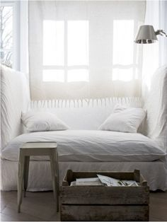 bed-chair knook. Cozy, white and clean nordic style corner for relaxing or reading. I love the simplicity and natural fresh feeling