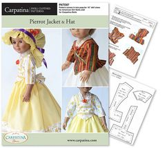 Pierrot Jacket and Hat Doll Clothes Pattern as PDF by CARPATINA