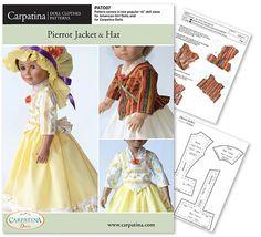 """Pierrot veste et chapeau poupée de vêtements tendance en PDF téléchargeable, livré en 2 tailles : pour 18"""" American Girl et slim Carpatina poupées"""