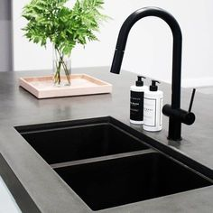 Concrete bench 🖤 by our friends featuring our Dish Wash and . - Concrete bench 🖤 by our friends featuring our Dish Wash and Hand Wash - Black Granite Sink, Black Sink, Kitchen Sink Window, Kitchen Sink Taps, Kitchen And Bath, Kitchen Tips, Black Kitchen Taps, Black Kitchens, Modern Kitchens