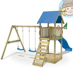 Trend WICKEY Smart Empire Spielturm Kletterturm Baumhaus mit Rutsche Schaukel Sandkasten blaue Dachplane t rkise Rutsche EmpireChildrenGarden