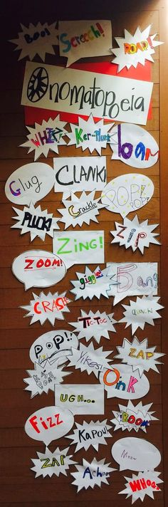 Ono Mato What? - Onomatopoeia Display for Figurative Language. Inspiration for classroom literacy displays about onomatopoeia Teaching Poetry, Teaching Language Arts, English Language Arts, Teaching Writing, Writing Activities, Language Activities, Essay Writing, Writing Rubrics, Gcse English