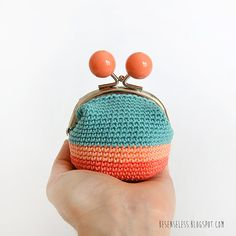 Coral Sky - crochet coin purse via Etsy