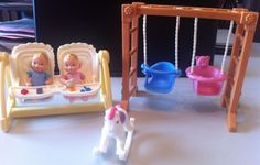 Fisher Price Loving Family Dollhouse Twin Furniture w/ Babies & Food #FisherPrice