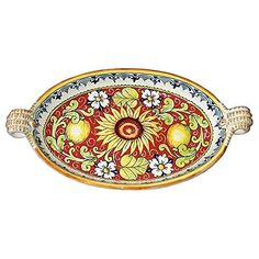 Handmade Home Décor CERAMICHE D'ARTE PARRINI - Italian Ceramic Serving Bowl…