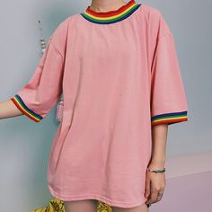 """15.9k Likes, 224 Comments - """"THAT'S SO AESTHETIC"""" (@soaestheticshop) on Instagram: """"❔Would you wear PINK or WHITE? """"RAINBOW ACCENTED"""" shirts ️ #soaestheticshop @soaestheticshop"""""""