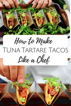 Get the recipe and tips for Chef Josh Capon and make some delicious Tuna Tartare Tacos https://www.busywifebusylife.com/food/recipes/mains/seafood/tuna-tartare-tacos/?utm_campaign=coschedule&utm_source=pinterest&utm_medium=Sherita&utm_content=How%20to%20Make%20Tuna%20Tartare%20Tacos%20like%20a%20Professional%20Chef