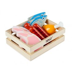Tidlo Wooden Meat and Fish crate of wooden food, perfect for play kitchens or play shops from The Toy Centre UK