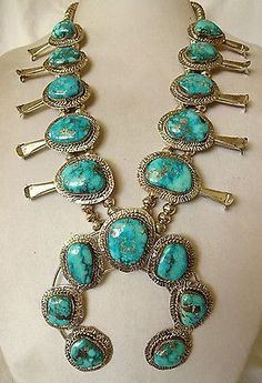 Vintage NAVAJO Sterling Silver & MORENCI TURQUOISE Squash Blossom NECKLACE in Jewelry & Watches, Ethnic, Regional & Tribal, Native American | eBay #jewelrynecklaces