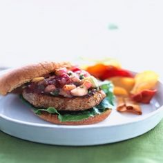 Apple-Turkey Burgers with Cranberry-Apple Salsa