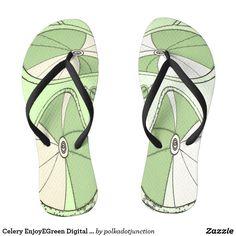 Celery Green Digital Bicycle Wheels Fashion Flip Flops