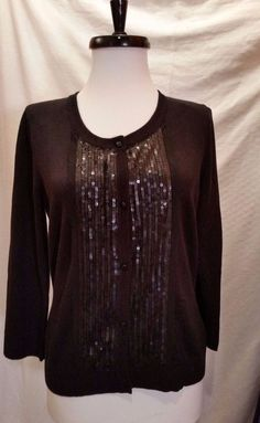Womens Merona Black Sweater Size M Sequin Button Front Cardigan  3/4 sleeve  #Merona #Cardigan