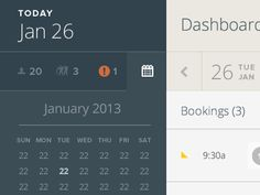 Web calendar design found on Dribbble.