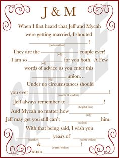 Guest Book Wedding Mad Libs a Guest Book by WeddingsByJamie, $15.00