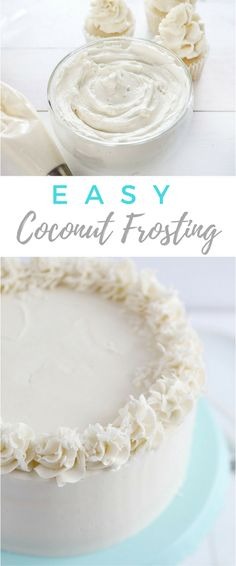 This COPYCAT Coconut Swiss Meringue Buttercream is the silkiest and most delicious coconut frosting, ever! : This COPYCAT Coconut Swiss Meringue Buttercream is the silkiest and most delicious coconut frosting, ever! Coconut Cake Frosting, Cupcake Frosting Tips, Swiss Meringue Buttercream, Buttercream Recipe, Frosting Recipes, Cupcake Cakes, Fondant Cakes, Meringue Cake, Fondant Figures