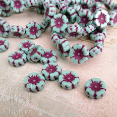 Czech Glass Opaque Mint Green Flower Beads - 12mm x 5mm - Boho Chunky Daisy Posey - Brick Red Picasso Finish - 6 pcs - Central Coast Charms