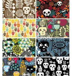 Skulls and flowers cards vector - by ekapanova on VectorStock®