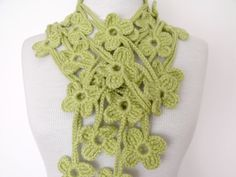 Lime Green Double BLOOM ScarfReady for by knittingshop on Etsy, $25.00