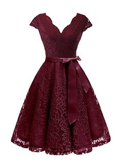 Vinvv Womens Short Vintage Floral Lace Dress VNeck Cap Sleeve Belt Bridesmaid Party Cocktail Dress Burgundy M *** Continue to the product at the image link. (This is an affiliate link) Red Lace Dress Short, Lace Burgundy Dress, Lace Back Dresses, Lace Dress With Sleeves, Lace Bridesmaid Dresses, Short Sleeve Dresses, Short Sleeves, Dress Lace, Homecoming Dresses