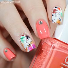 Orange & Floral Water Decal Nails | NailsByErin
