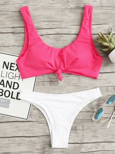 eccc038a654 Two Tone Knot Front Bikini SetFor Women-romwe Fashion Swimsuits, Bikini  Fashion, Fashion