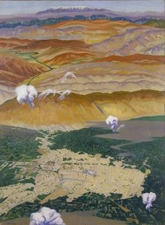 Damascus and the Lebanon Mountains from 10,000 Feet by Richard Carline IWM (Imperial War Museums)      Date painted: 1920     Oil on canvas, 143.5 x 105.4 cm     Collection: IWM (Imperial War Museums)