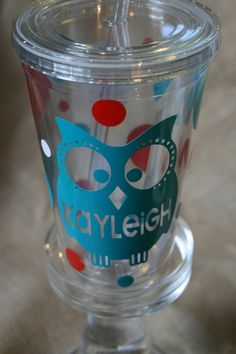 Personalized Owl Tumbler with Lid and Straw 16 oz.. $10.00, via Etsy.